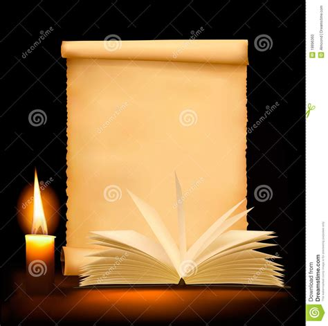 Roll Up Desk by Background With Old Paper Candle And Open Book Stock