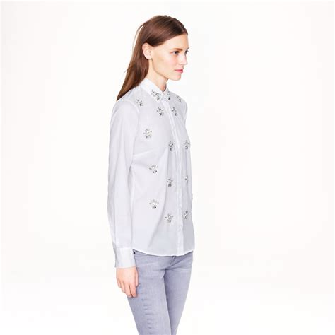 jcrew blouses j crew jeweled clusters blouse in white lyst