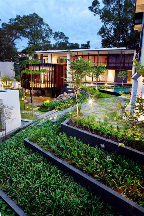 luxury house  layered gardens  screened circular pavilion