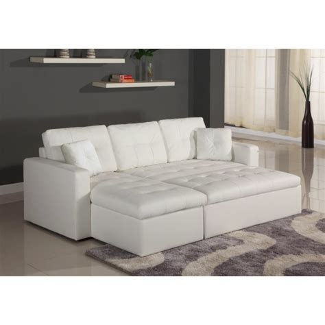 canape convertible simili canapé d 39 angle lit convertible girly blanc en simili cuir