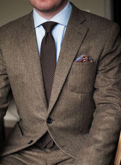 latest coat pants design brown tweed groom tuxedos  piece