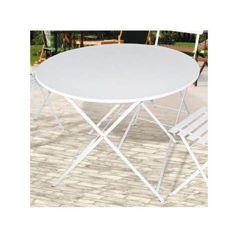 table de jardin pliante metal ronde blanche 90cm achat
