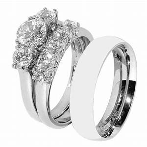 his hers 3 pcs stainless steel her wedding ring set and With wedding ring set his and hers
