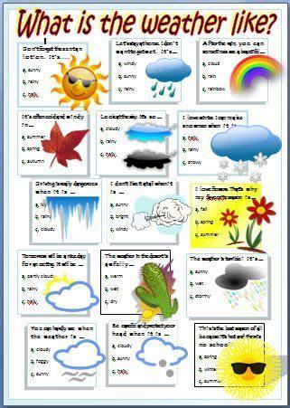 stuff esl weather worksheet angielski