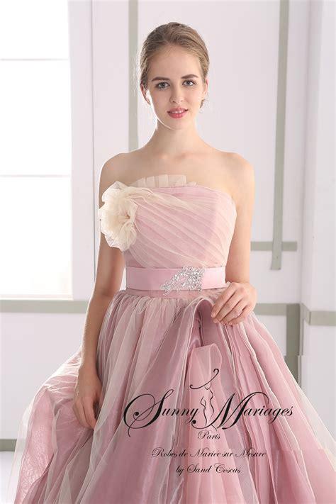 robe de mariee princesse couleur rose poudre sunny mariage