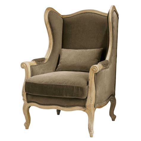 bergere canape fauteuil bergère en coton taupe manoir maisons du monde
