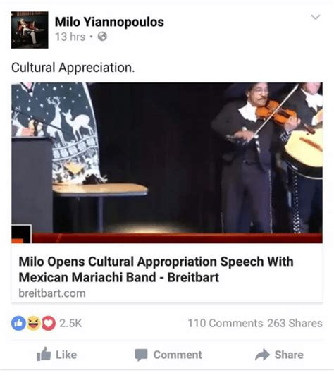 Milo Yiannopoulos Memes - milo yiannopoulos 1 13 hrs cultural appreciation milo opens cultural appropriation speech with
