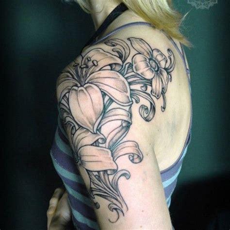 lily shoulder tattoo  tattoochiefcom quarter sleeve