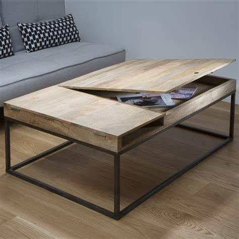 table basse decoclico achat table basse en bois et m 233 tal z 233 ro guibox avec rangement et
