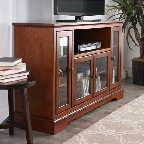 pemberly row  highboy style wood tv stand  rustic