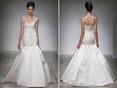 Drop Waist Ivory Trumpet Wedding Dress With Beaded Crystal
