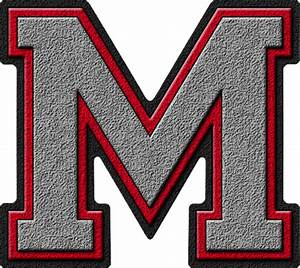 presentation alphabets silver red varsity letter m With varsity letter m