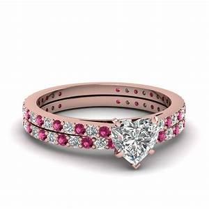 heart shaped petite diamond wedding ring set with pink With pink gold wedding ring sets