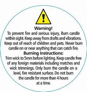 safety warning labels x 50mm diameter With candle safety labels