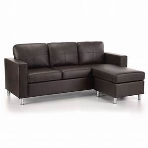 Brown faux leather sofa faux leather sofa cymun designs for Small spaces sectional sofa black faux leather