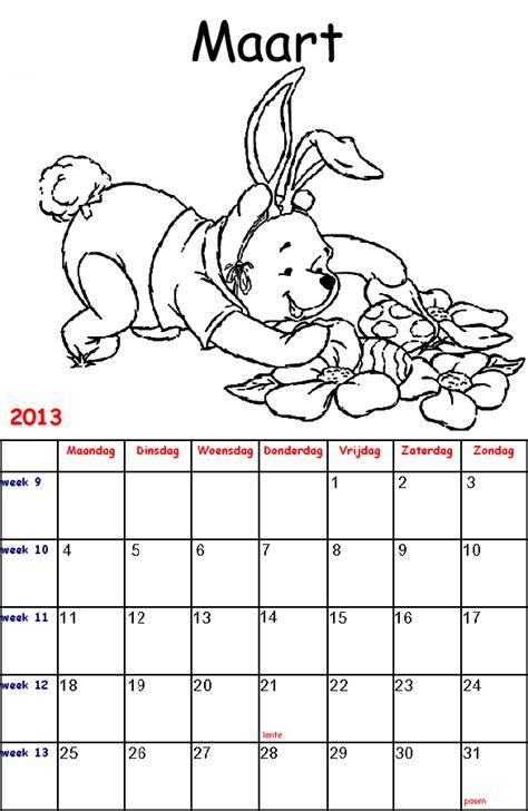 Kleurplaat Kalender Maart by Winnie De Poeh Kalender Kleurplaten