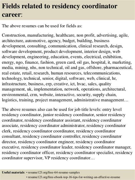 Residence Coordinator Resume by Top 8 Residency Coordinator Resume Sles