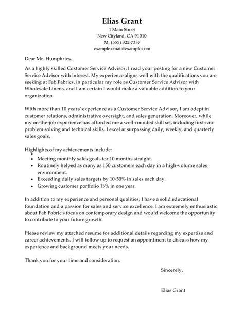 best sales customer service advisor cover letter exles