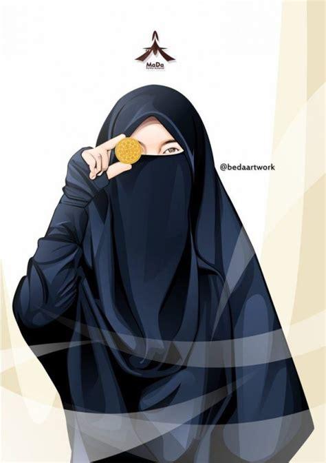 gambar kartun muslimah cantik  imut bercadar sholehah lucu