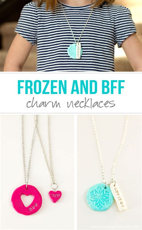 frozen ready to go diy quot frozen quot and quot bff quot clay charm necklaces make it and