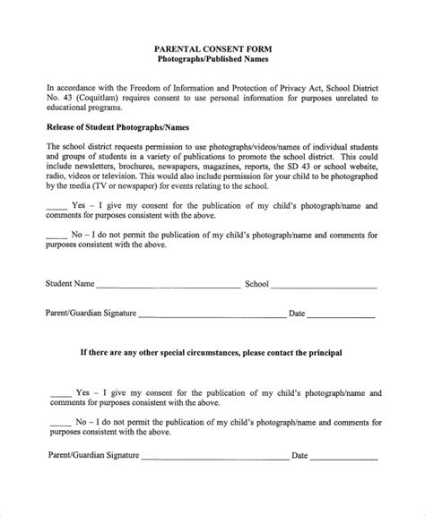 sample photography consent forms  ms word