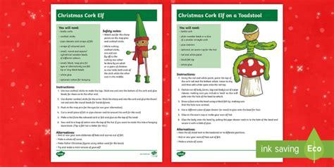 * New * Ks2 Make Christmas Cork Elves Craft Instructions