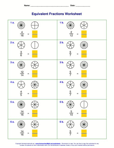 free equivalent fractions worksheets with visual models help