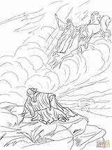 Elijah Heaven Coloring Chariot Fire Taken Pages Elisha Drawing Printable Bible Sunday Chariots Dot Template Crafts Unique Paper sketch template