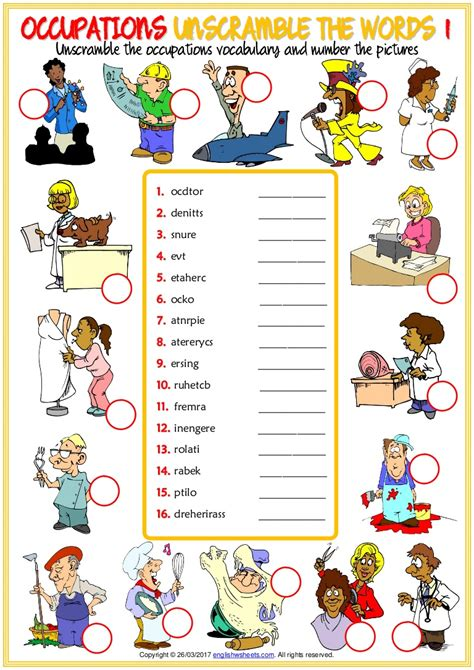 occupations vocabulary esl unscramble  words worksheets
