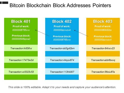 Check bitcoin addresses, lookup transactions & monitor wallet balances with our block explorer & btc address finder. Bitcoin Blockchain Block Addresses Pointers   PowerPoint Templates Designs   PPT Slide Examples ...