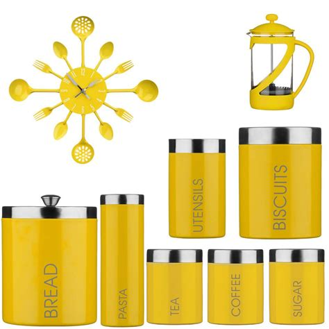 yellow accessories for kitchen amazing new kenya cafeteria tea coffee sugar jars bread 1685