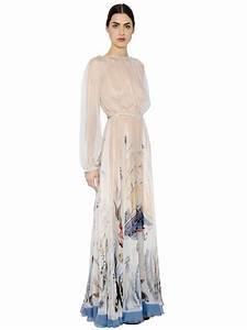 Valentino Mermaid Printed Silk Chiffon Dress in Blue   Lyst