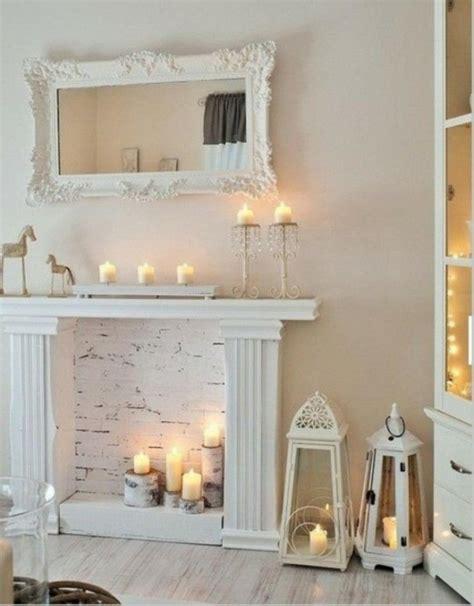 deko für kamin deko kamin romantische stimmung mit kerzen und laternen