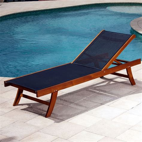 teak sun lounger with mesh fabric contemporary outdoor