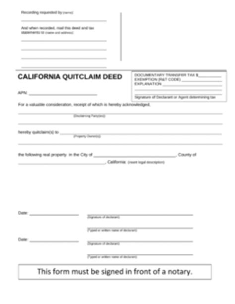 california quit claim deed form  word eforms