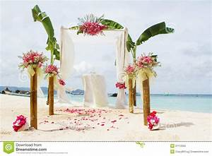 Wedding Setup And Flowers On Tropical Beach Background ...