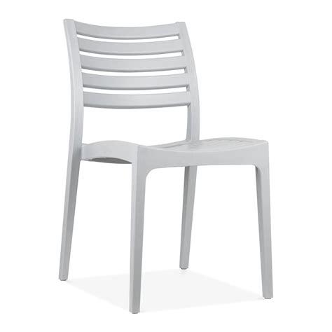 Grey Venice Plastic Outdoor Dining Chair  Patio & Garden