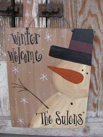 primitive personalized snowman sign