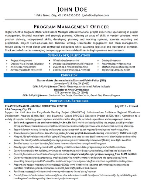 program manager resume exle finance and global education