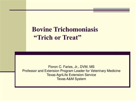 Trichomoniasis Test At Home by Ppt Bovine Trichomoniasis Trich Or Treat Powerpoint