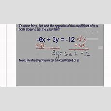 Linear Solving For Y In Terms Of X Youtube