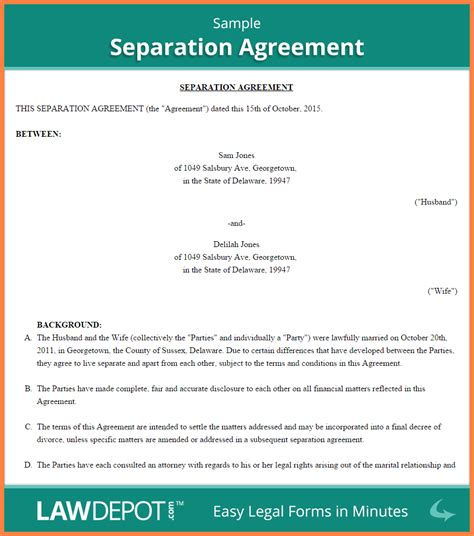 common law separation agreement template purchase