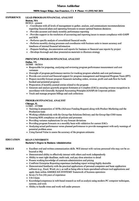 Program Analyst Resume by Program Financial Analyst Resume Sles Velvet