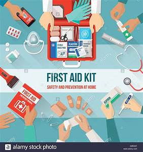 First Aid Kit With Medications And Emergency Equipment And