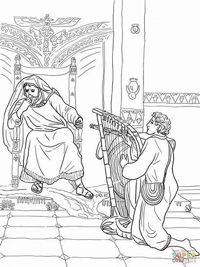 Saul David Coloring Harp Plays Pages King