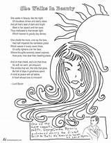 Poem Walks She Coloring Beauty Byron Lord Hughes Langston Poet Pages Template Sketch Getdrawings sketch template