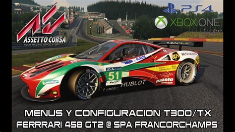 assetto corsa xbox one assetto corsa ps4 xbox one menus thrustmaster t300 tx 458 gt2 spa francorchs