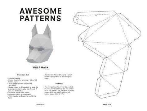 diy wolf mask  poly paper craft template printable