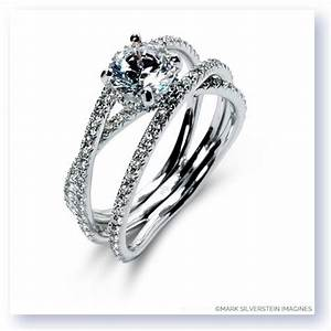 Mark silverstein imagines 18k white gold double band for Double band diamond wedding ring
