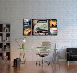 home interiors wall wood photo blocks vintage cars home decor wall